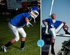 Hangin out in the upright adds a memorable and unique touch to this football senior photo