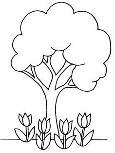 Basit Ağaç Boyama - okul öncesi çocuklar için boyama sayfası.