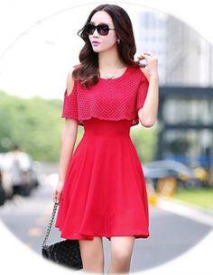 Đầm voan đắp lưới màu đỏ - A6391 Cute Short Dresses, Unique Dresses, Stylish Dresses, Sexy Dresses, Beautiful Dresses, Shifon Dress, Chiffon Maxi Dress, Frock For Women, Party Dresses For Women