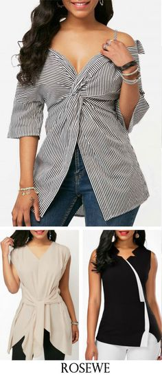 Front Slit Strappy Cold Shoulder Striped Blouse.#Rosewe#top#summeroutfit
