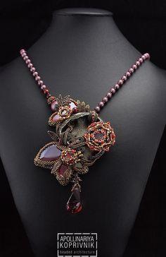 Купить Red Fern / Коллекция Ода Жеодам - бордовый, Вышивка бисером, украшение из бисера