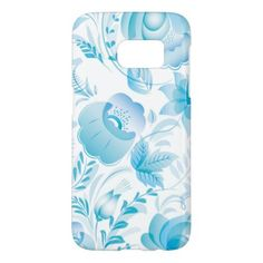Chic Stylish Pretty Girly Blue Floral Pattern Samsung Galaxy S7 Case - girly gifts special unique gift idea custom