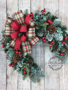Items similar to Winter Wreath for Front Door, Rustic Evergreen Crescent Wreath, Half Wreath with Pinecones, Winter Cabin Decor, Country Outdoor Decor on Etsy Christmas Wreaths For Front Door, Xmas Wreaths, Easter Wreaths, Wreath Fall, Flower Wreaths, All Things Christmas, Christmas Time, Western Christmas, Country Christmas