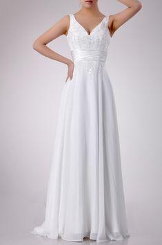 Chiffon Straps Empire Waist A Line Wedding Dress_w20075