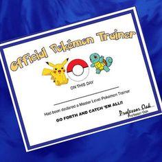 Pokemon - pokemon party - Pokémon Trainer Certificate - Pokemon Birthday Favor - Pikachu- Pokemon - Pokemon birthday Pokemon Pokémon Trainer Certificate Printable - Gotta Catch 'em All - Make their Pokemon birthday special with this unique Pokémon Trainer Certificate Printable .