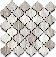 Discount Glass Tile Store - Stone Arabesque Tile - Wooden White Marble $15.29 sq.ft 12x12 Mosaic Mesh Mount Sheet, $15.29 (http://www.discountglasstilestore.com/stone-arabesque-tile-wooden-white-marble-15-29-sq-ft-12x12-mosaic-mesh-mount-sheet/)