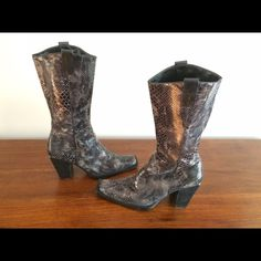 Black and grey snakeskin boots Python snakeskin boots. Unique. Black and grey. Square toe, like new. Half side zip. Mid calf height. Me Too Shoes Heeled Boots