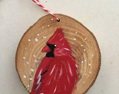 Cardinal Christmas Ornament Wood Slice Ornament by EllaSketchArt Rustic Christmas Ornaments, Christmas Wood, Diy Christmas Gifts, Christmas Projects, Holiday Crafts, Christmas Decorations, Hand Painted Ornaments, Wood Ornaments, Cardinal Ornaments