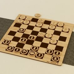 Laser cut chess piece made from amber bamboo!  Chess board: 26.37 x 26.37 x 0.27 cm   Individual Chess pieces: 2.64 x 2.64 x0.27 cm  100% recyclable and eco-friendly! @ $138