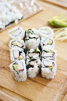 Rolling your own sushi takes a little bit of time and skill, but the results are fresh and satisfying! Choose your favorite ingredients and get rolling! | California Rolls recipe by Joanna Meyer