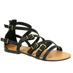 Hebilla Black Multi Strap Buckle Detail Flat Sandals