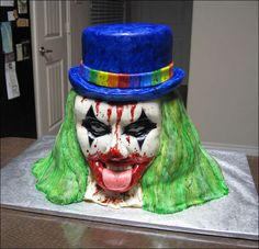 How to Make an Evil Clown Cake. Not sure why I would ever need this, but just in case the event should arise, lol.