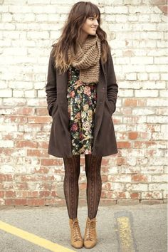 floral dress, black lace pattern tights, carmel leather lace-up ankle boots, dark gray wool tailored coat, knitted tan scarf, ombre hair.