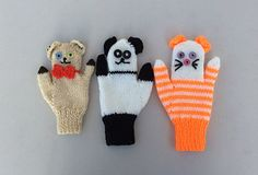 This pattern gives instructions for three different designs of fun puppet mittens for children - Teddy, Panda and Cat. Each design is available in three sizes, to fit children from 2 to 7 years old.