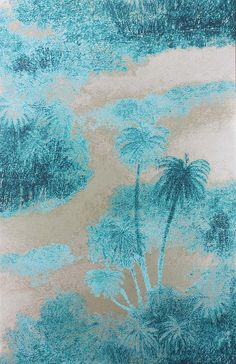 Matthew Williamson in collaboration with Osborne & Little. The Cocos wallpaper from the 2015 Samana collection. Silhouettes of swaying island palms.