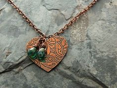 Heart Necklace Etched Metal Copper Heart Pendant by ATwistOfWhimsy