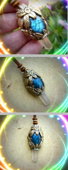 Labradorite & Clear Quartz clay healing crystal pendant #earthandsurfjewelry