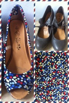 Fabric + old shoes =new shoes