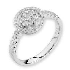 Finest Charm flower ring in 18k white gold with diamonds.             #FinestDiamonds                          www.finestdiamonds.com.au