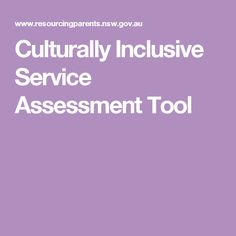 Culturally Inclusive Service Assessment Tool
