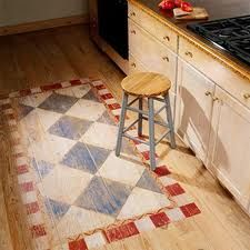 "Farmhouse Style Kitchens - this small painted ""rug"" would be a great way to add…"