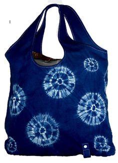 Indigo dyed shibori market tote bag by chelseacraft