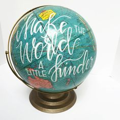 Hand Painted Vintage Globe by Allikdesign on Etsy