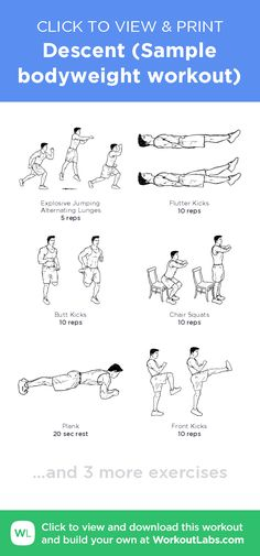 Descent (Sample bodyweight workout) –click to view and print this illustrated exercise plan created with #WorkoutLabsFit