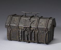 Casket with Scenes from Romances - Casket with Scenes from Romances This leather box was probably used to store important documents, money, or other precious objects. It is decorated with courtship scenes and was originally painted and highlighted with gilding. -     French (Artist)  early 15th century (Late Medieval) leather over wood and iron, traces of paint and gilding