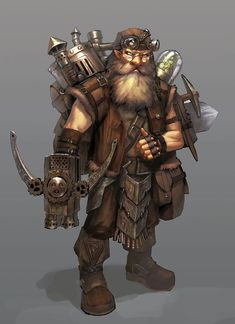 m Dwarf Fighter tinker traveler flame thrower backpack