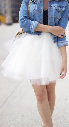 Tulle + denim.
