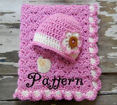 crochet baby hats patterns | ... Pattern - Crochet Pattern - Crochet Baby Blanket - Hawaiian Flower Hat