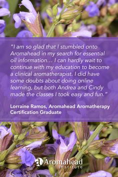 What I loved about Aromahead:  I am so glad that I stumbled onto Aromahead in my search for essential oil information.  It was fate!!   Andrea is so passionate in her teaching and has made learning so much fun and I am addicted to aromatherapy now!!!    https://www.aromahead.com/graduates/lorraine.ramos