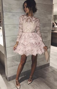 lace homecoming dresses Buy Long Sleeve Pink Above Knee Lace High Neck Homecoming Dress, Short Prom Dresses short long ombre prom, homecoming, bridesmaid evening dresses Long Sleeve Homecoming Dresses, Hoco Dresses, Event Dresses, Dance Dresses, Cute Dresses, Short Dresses With Sleeves, Sexy Dresses, Casual Dresses, Long Sleeve Cocktail Dresses