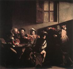 The Calling of Saint Matthew by Michelangelo Merisi da Caravaggio (Italian); 1599-1600; oil.    Location: Rome, Italy; San Luigi dei Francesi.