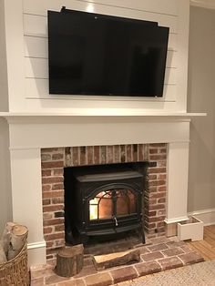 A Custom DIY Fireplace Mantel Beneath Our Shiplap – Old Town Home – Farmhouse Fireplace Mantels Diy Fireplace Mantel, Brick Fireplace Makeover, Shiplap Fireplace, Small Fireplace, Farmhouse Fireplace, Fireplace Remodel, Fireplace Design, Living Room With Fireplace, Fireplace Ideas