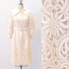 Mod 1960s Piña Silk Wedding Dress with Intricate Cutwork & Embroidery by daisyandstella, $250.00  https://www.etsy.com/listing/165897415/1960s-pina-silk-wedding-dress-60s