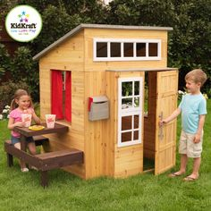 Now that is one fancy house! The Modern Outdoor Playhouse is a ton of fun, allowing kids to explore a whole new world without leaving the backyard. It has a hip, one-of-a-kind design and plenty of extra seating.