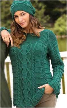 The focus of this sweater is a wide strip of spectacular Aran pattern, surrounded by simple braids a Knitwear Fashion, Sweater Fashion, Cable Knitting, Hand Knitting, Hand Knitted Sweaters, Knit Jacket, Cardigans For Women, Pattern Fashion, Knitting Patterns