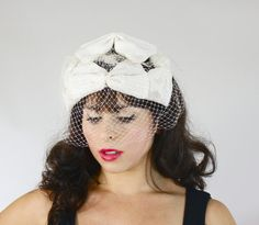 Vintage Off White Fascinator Hat - 1950s Wedding Bridal Birdcage Netting Headpiece Accessory / Ivory Ruffles by Maejean Vintage on Etsy, $30.00