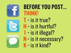 Cyberbullying: The idea of teaching younger students THINK before posting online is brilliant! It serves as a checklist for students to prevent cyberbullying and introduces what cyberbullying means. Think Before You Post, Social Media Safety, Social Media Etiquette, Safe Internet, Internet Safety, Cyber Safety, Digital Footprint, Bullying Prevention, Digital Citizenship