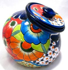 Picture of TALAVERA POTTERY CANISTER HAND PAINTED COOKIE JAR