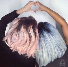 pastel pink pastel blue shadow roots