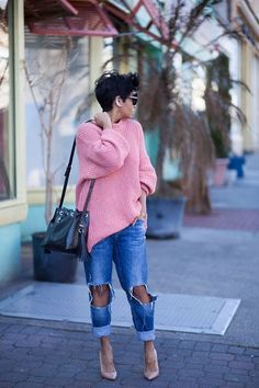 knit details pink sweater