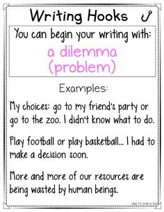 Are your students having a hard time beginning their personal narrative or expository writing pieces? These writing hooks anchor charts are helpful with providing a variety of ways to hook their reader! Get 20 different ways to start your writing in an interesting and intriguing way! #writingworkshop #anchorcharts #writinghooks #narrative #expository #storystarters Expository Writing, Paragraph Writing, Narrative Writing, Informational Writing, Writing Words, Writing Promps, Argumentative Essay, Writing Strategies, Book Writing Tips
