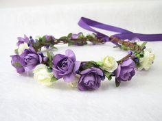 Wedding Floral Crown Ivory Purple Flower by HydrangeasLover