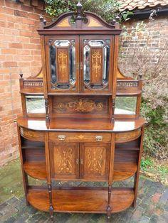 Impressive late Victorian Inlaid Salon Cabinet