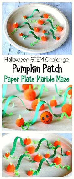 Halloween STEM / Science Challenge for Kids: Pumpkin Patch Paper Plate Marble Maze- Turn your paper plate into a pumpkin patch filled with vines and explore gravity and balance as you get your marble pumpkin to travel through each path and obstacle! ~ BuggyandBuddy.com