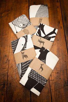 Screen Printed Animal Tea Towels by Gingiber