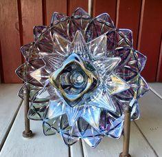 Repurposed Glass Flower Sun Catcher Glass Garden by theglasslotus